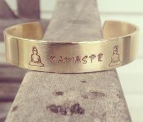 Brass Buddha Cuff with OM symbol on ends, Hand Stamped Yoga Bracelet, OM Bracelet, Mantra Design