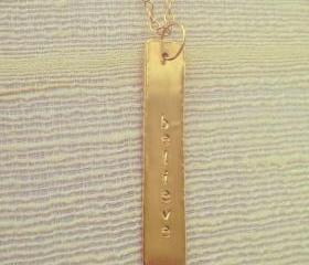 Gold Believe Bar Pendant